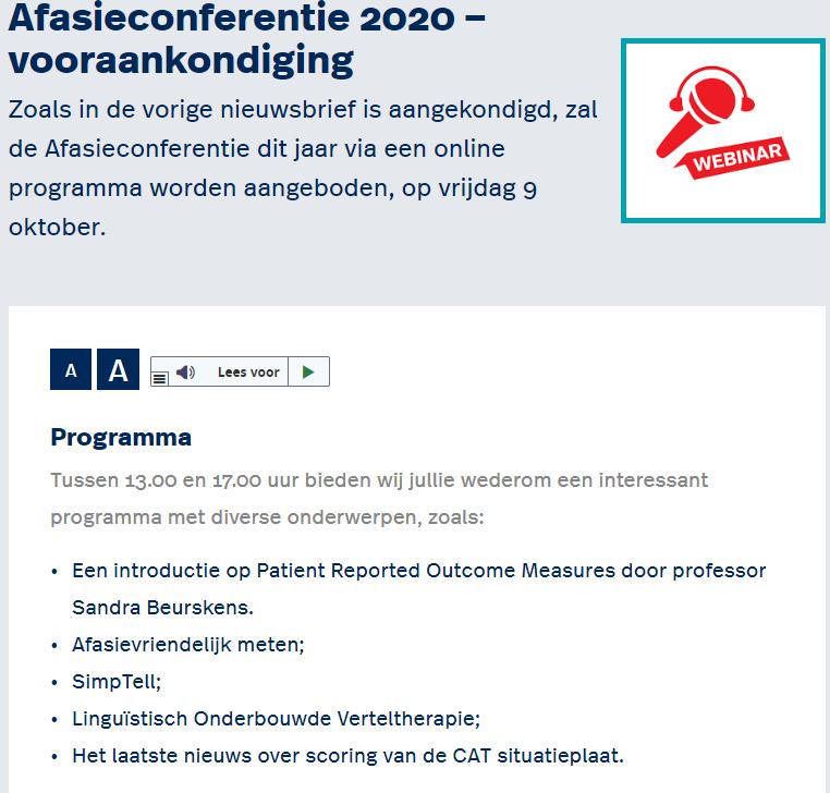 Aankondiging Afasieconferentie 2020